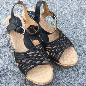 Born Black wedge sandals women's 8